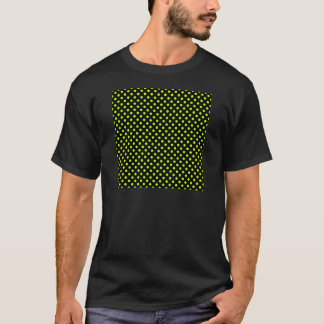Polka Dots - Fluorescent Yellow on Black T-Shirt