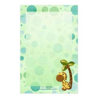 Polka Dots Giraffe - Neutral Baby and Kids theme Customised Stationery