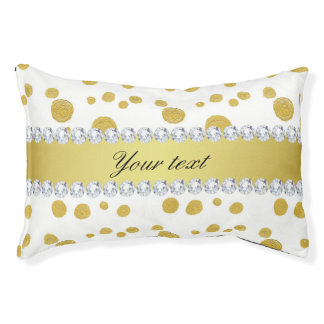 Polka Dots Gold Oil Paint and Diamonds