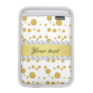Polka Dots Gold Oil Paint and Diamonds iPad Mini Sleeve