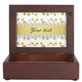 Polka Dots Gold Oil Paint and Diamonds Keepsake Box