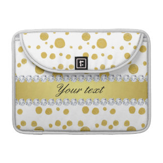 Polka Dots Gold Oil Paint and Diamonds MacBook Pro Sleeves