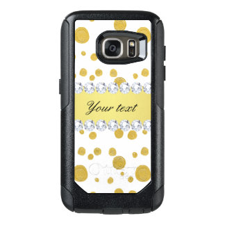 Polka Dots Gold Oil Paint and Diamonds OtterBox Samsung Galaxy S7 Case