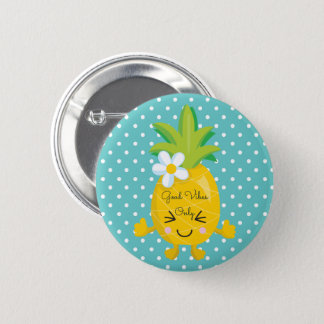Polka Dots Good Vibes Only Pineapple 6 Cm Round Badge