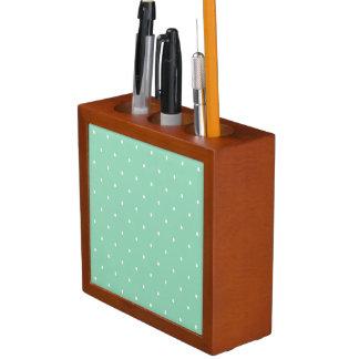 Polka Dots, Green, White Desk Organiser