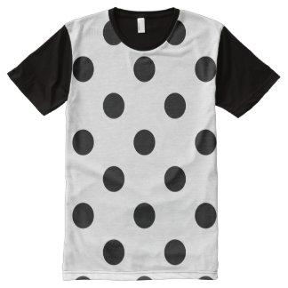 Polka Dots Huge - Black on White All-Over Print T-Shirt