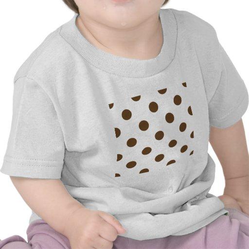 Polka Dots Huge - Dark Brown on White T Shirt