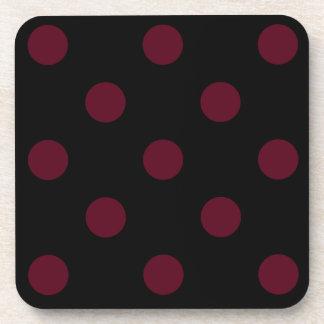 Polka Dots Huge - Dark Scarlet on Black Drink Coaster