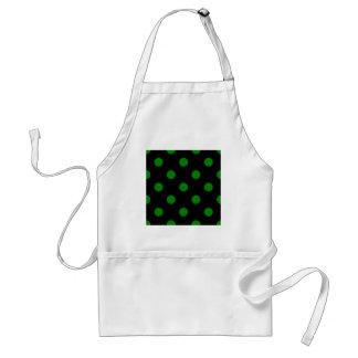 Polka Dots Huge - Green on Black Aprons