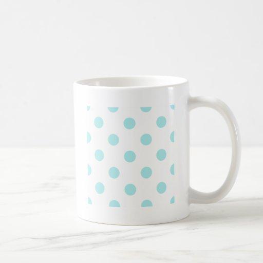Polka Dots Huge - Pale Blue on White Mugs