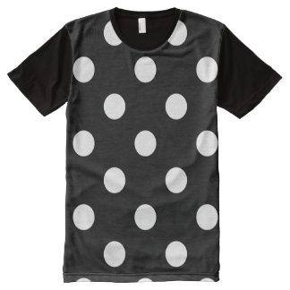 Polka Dots Huge - White on Black All-Over Print T-Shirt