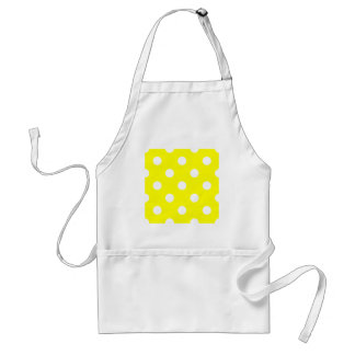 Polka Dots Huge - White on Yellow Aprons
