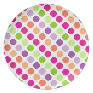 Polka Dots in Garden White Plate