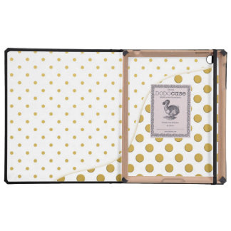 Polka Dots in Gold and White iPad Folio Cases