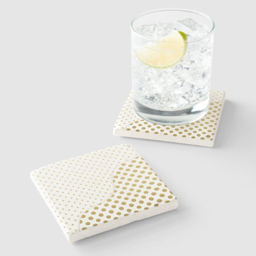 Polka Dots in Gold and White Stone Coaster