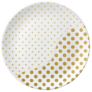 Polka Dots in Gold and White Porcelain Plates