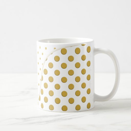 Polka Dots in Gold and White Coffee Mugs