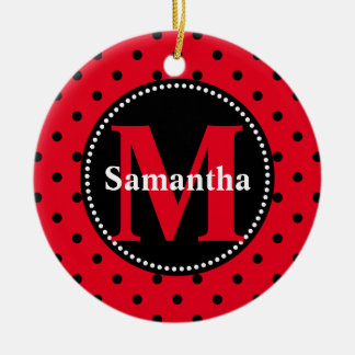 Polka Dots in Red and Black Personalized Ceramic Ornament