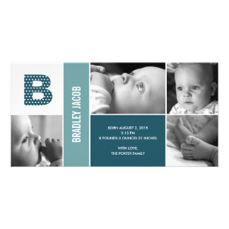 Polka Dots Initial Baby Birth Announcement Photo Card Template