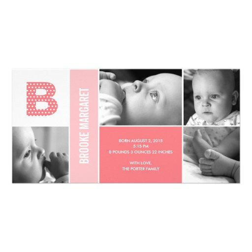 Polka Dots Initial Baby Birth Announcement Custom Photo Card