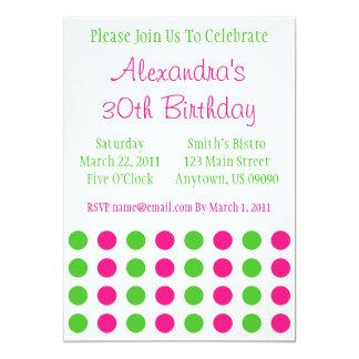 Polka Dots Invitation (Hot Pink / Lime Green)