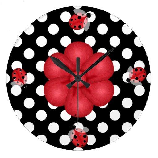 Polka Dots & Ladybugs Wall Clock
