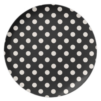 Polka Dots Large - Almond on Black Dinner Plate