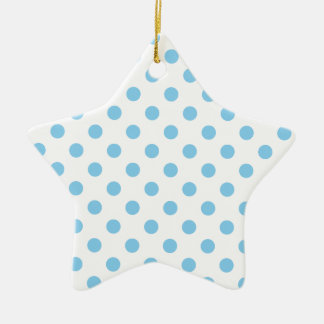 Polka Dots Large - Baby Blue on White Ceramic Star Decoration