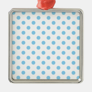 Polka Dots Large - Baby Blue on White Silver-Colored Square Decoration