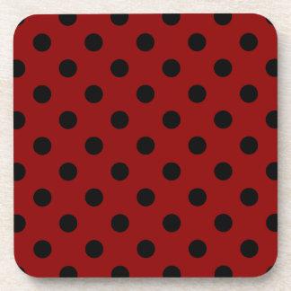 Polka Dots Large - Black on Dark Red Beverage Coaster