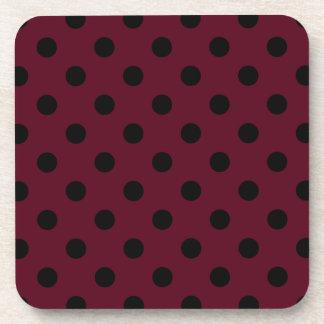 Polka Dots Large - Black on Dark Scarlet Drink Coaster