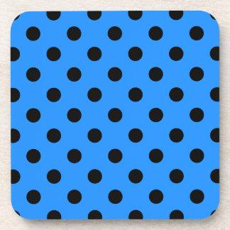 Polka Dots Large - Black on Dodger Blue Beverage Coaster
