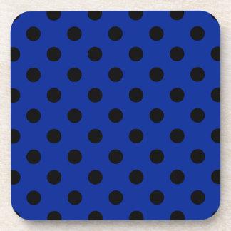 Polka Dots Large - Black on Imperial Blue Drink Coaster