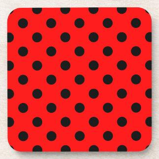 Polka Dots Large - Black on Red Beverage Coaster