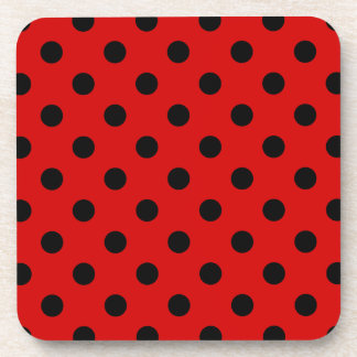 Polka Dots Large - Black on Rosso Corsa Coaster