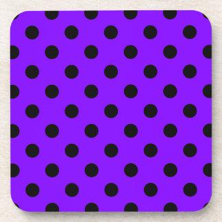 Polka Dots Large - Black on Violet Drink Coasters
