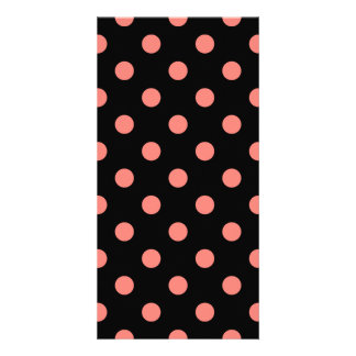 Polka Dots Large - Coral Pink on Black Customized Photo Card