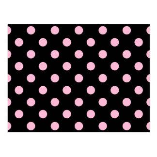 Polka Dots Large - Cotton Candy on Black Postcard