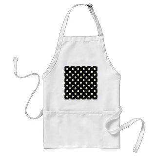 Polka Dots Large - Cream on Black Aprons