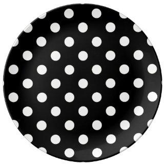 Polka Dots Large - Cream on Black Porcelain Plates