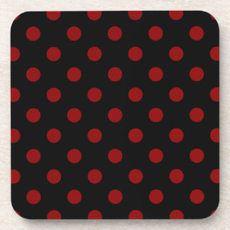 Polka Dots Large - Dark Red on Black Drink Coaster