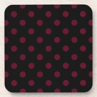 Polka Dots Large - Dark Scarlet on Black Beverage Coasters