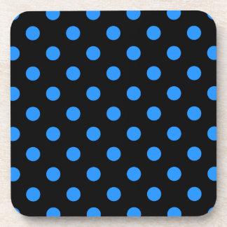 Polka Dots Large - Dodger Blue on Black Coaster