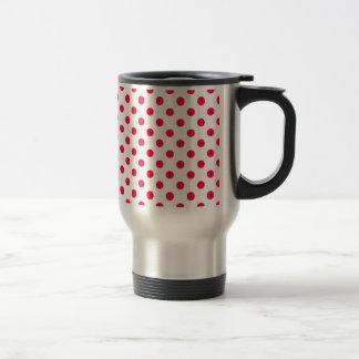 Polka Dots Large - Electric Crimson on  White Mugs