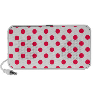 Polka Dots Large - Electric Crimson on  White Travel Speakers