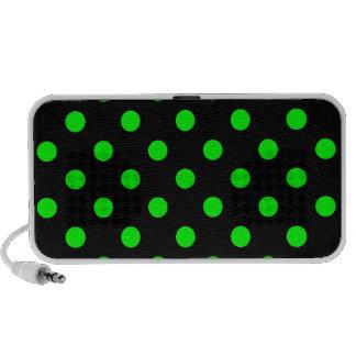 Polka Dots Large - Electric Green on Black Notebook Speaker