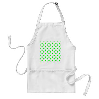 Polka Dots Large - Electric Green on White Standard Apron
