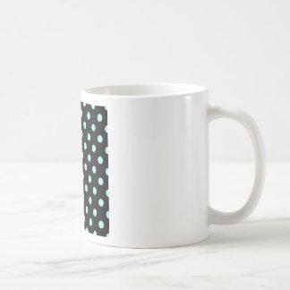 Polka Dots Large - Pale Blue on Black Basic White Mug