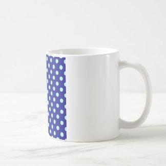 Polka Dots Large - Pale Blue on Navy Blue Basic White Mug