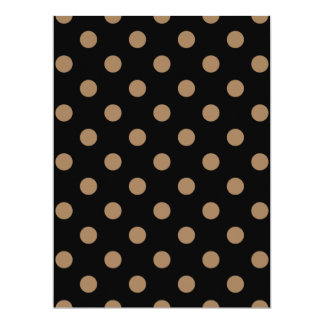 Polka Dots Large - Pale Brown on Black Personalized Invitation Card